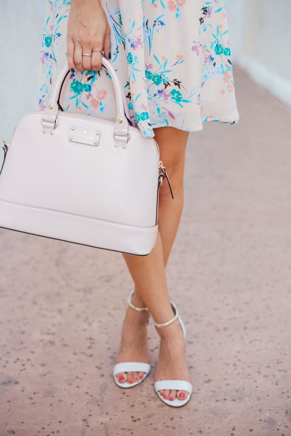 blush, blush dress, white sandals, kate spade purse, nordstrom