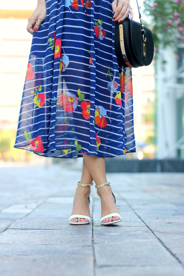 Maison Jules, Blue Striped Dress, Paris, Midi Dress
