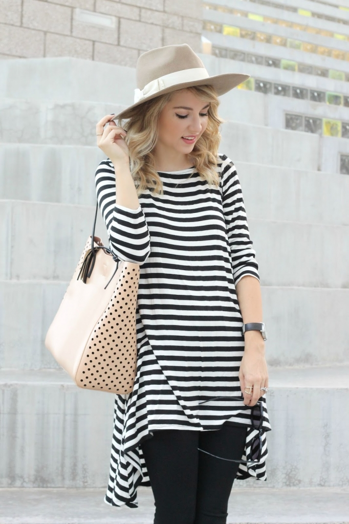 Classic Fall Outfit , striped dress, Hat