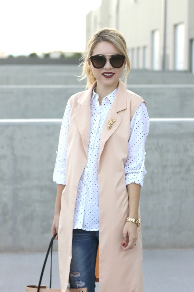 Long vest, Fall Outfit, button up, brooch
