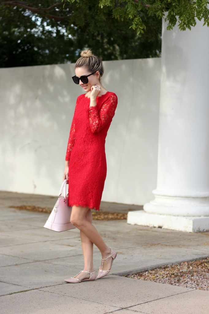 DVF, Red Dress, Holiday Dress, Lace
