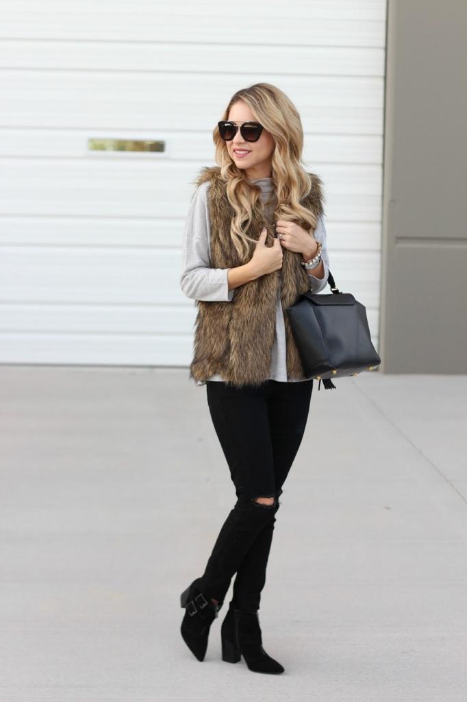 faux fur vest, fur vest, style, simply sutter, prada