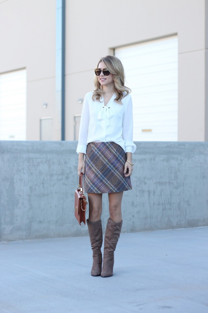 plaid skirt | tie neck blouse | boots | fall fashion | simply sutter