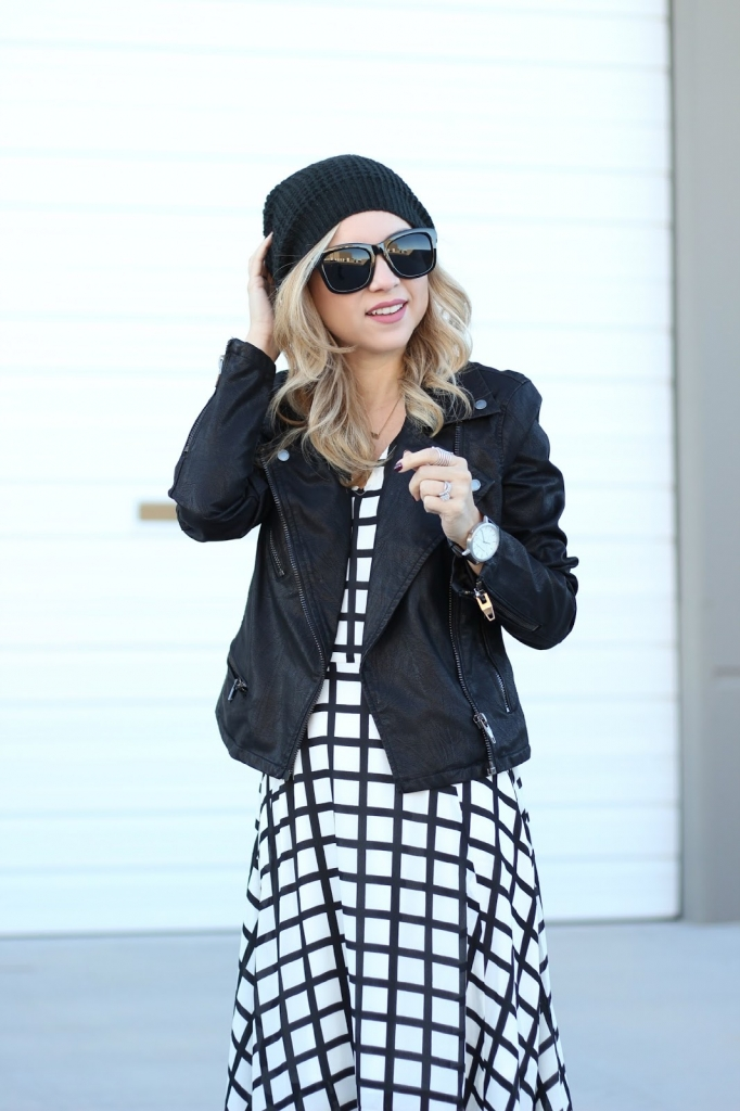 grid print, layer your dress, transition outfit, beanie outfit , simply sutter