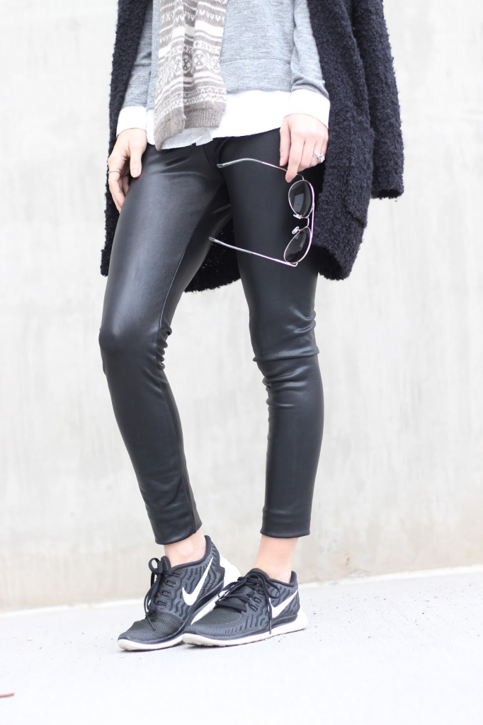 black nike outfit, leather leggings, simply sutter