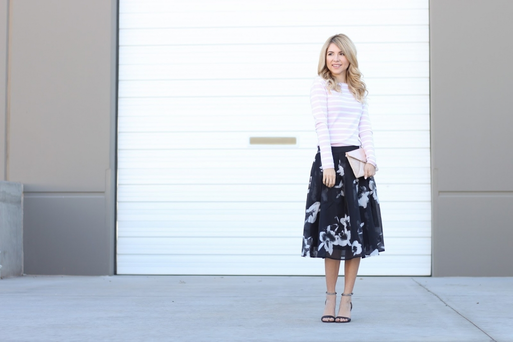 full skirt, lucy paris, floral skirt outfit, simply sutter