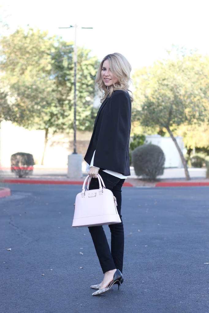 pink bag, cape, blogger simply sutter