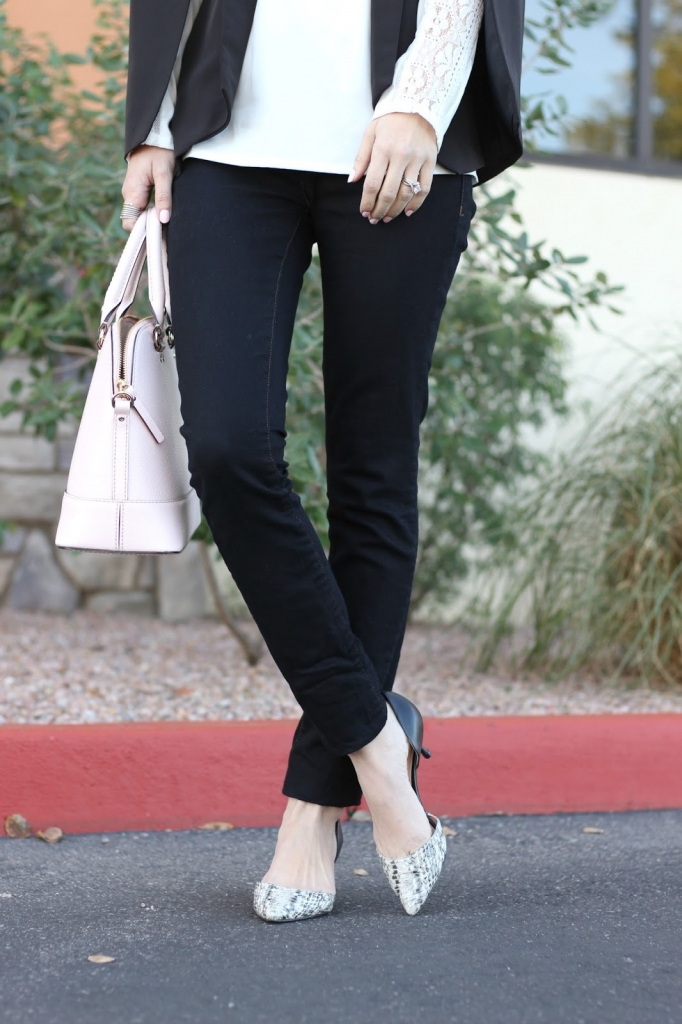 black jeans and heels