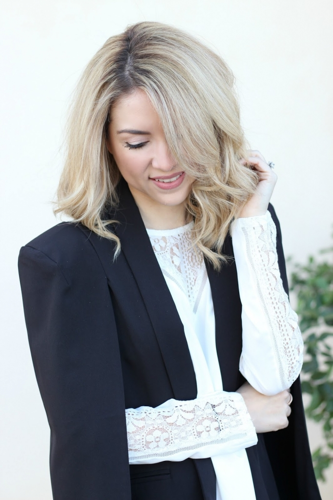 lace blouse and black jacket