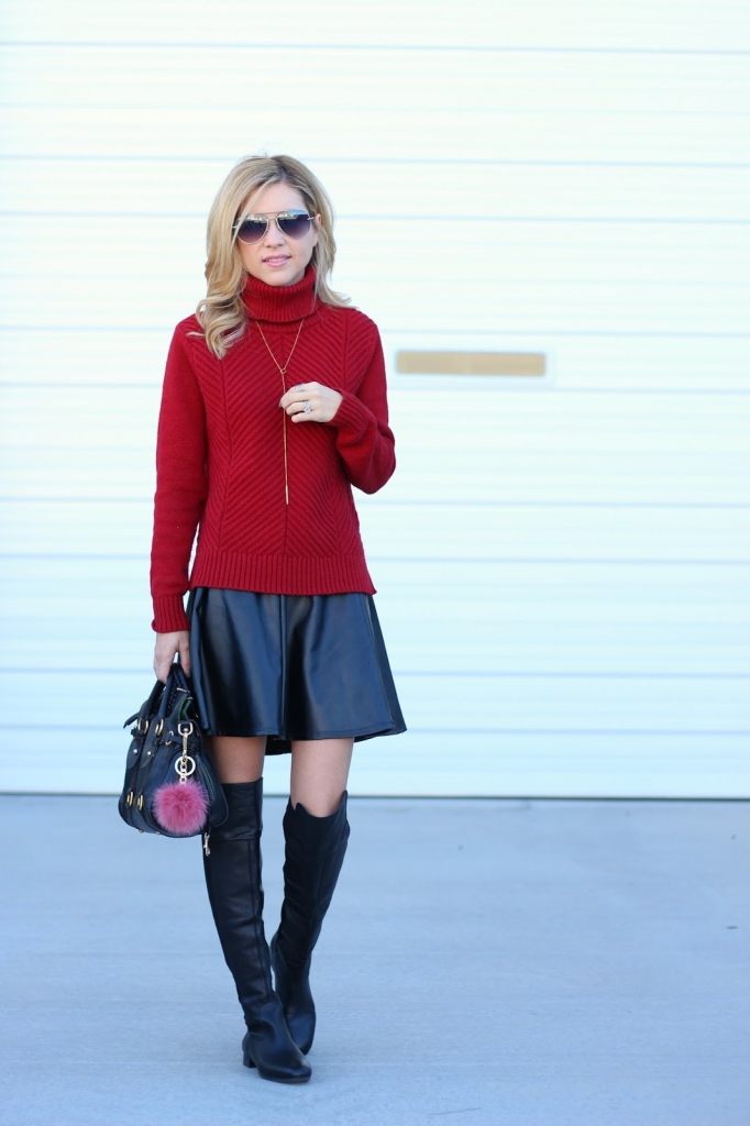 Bulky Knit Sweater, Leather Skirt, OTK, Simply Sutter