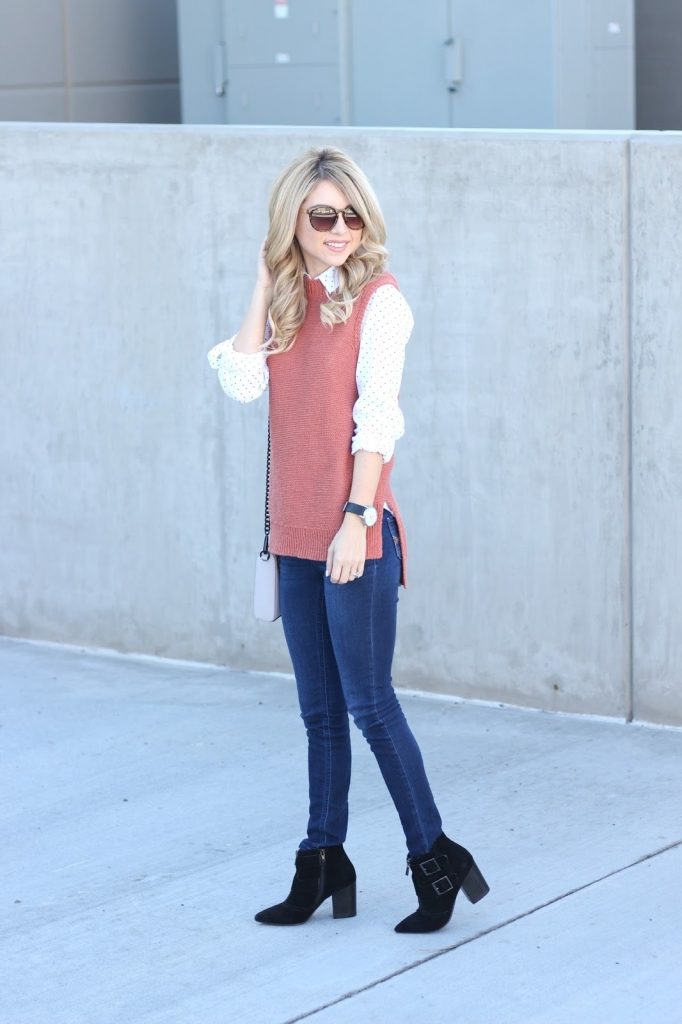 sleeveless sweater, light layers, outfit, simply sutter