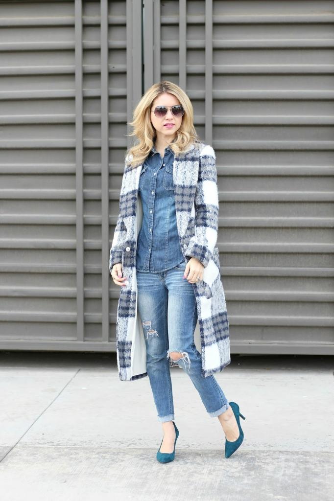 plaid coat, long line coat, denim outfit, simply sutter, winter outfit