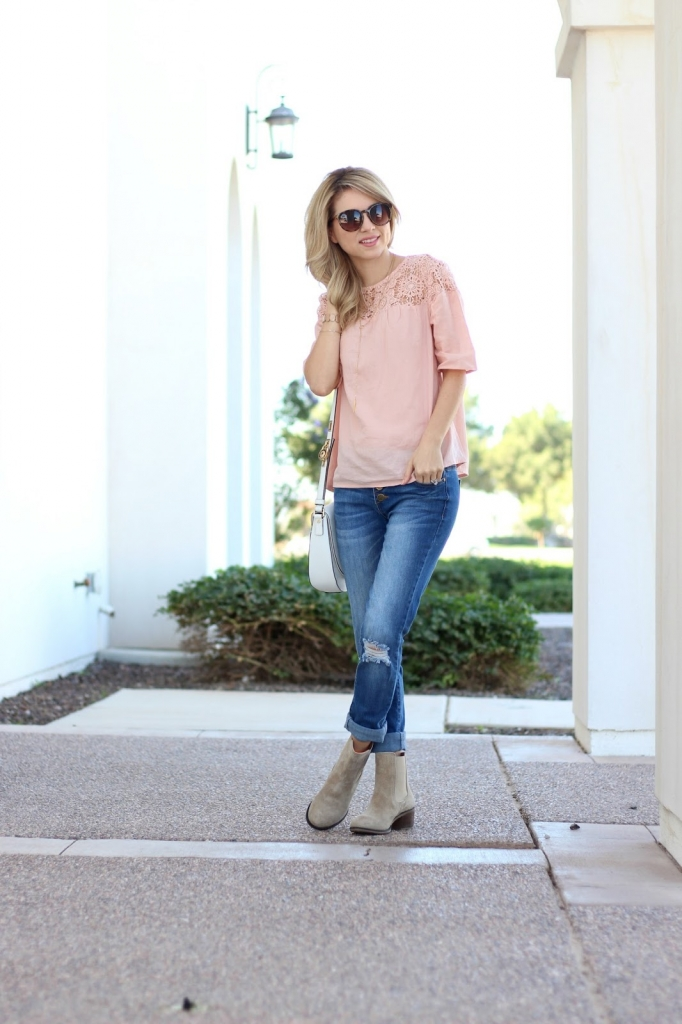 Old Navy Crochet Top, Hush Puppies Boots, Casual Outfit