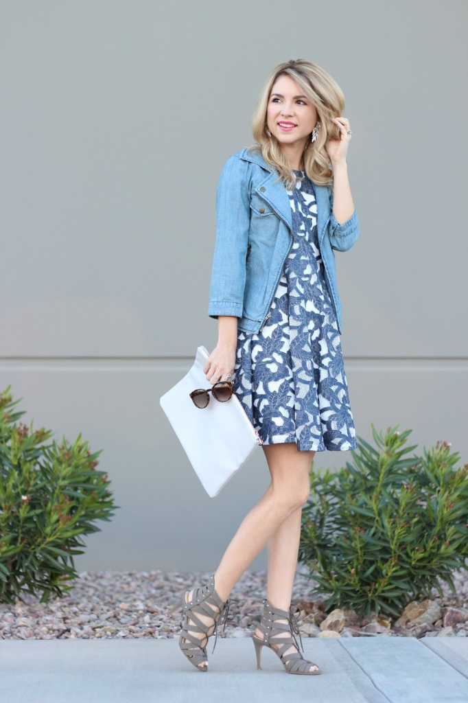 Denim Dress, Maison Jules, Lace up heels, simply sutter
