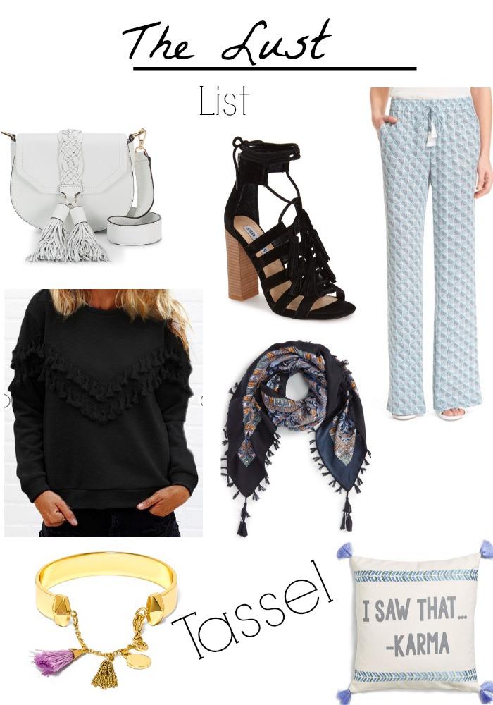 The lust list, collage, tassel