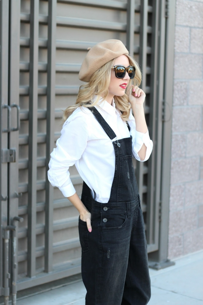 overalls, black overalls, button up, beret, paris, simply sutter