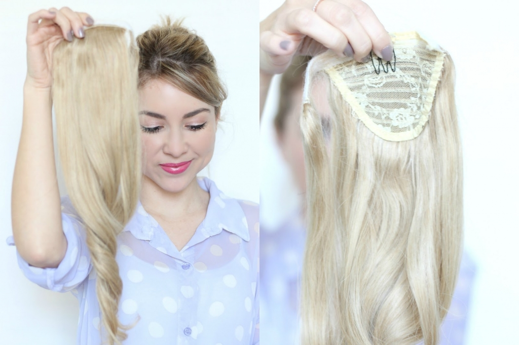 ponytail, clip-in extensions, high ponytail, tutorial, hair, milk+blush