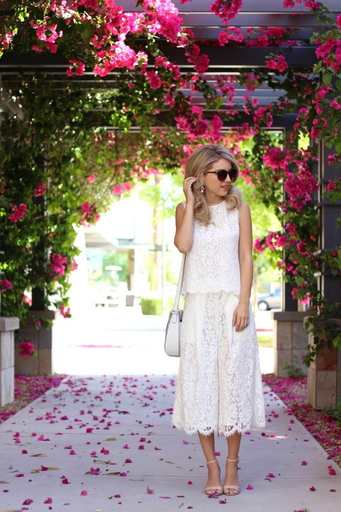 lace outfit with culottes
