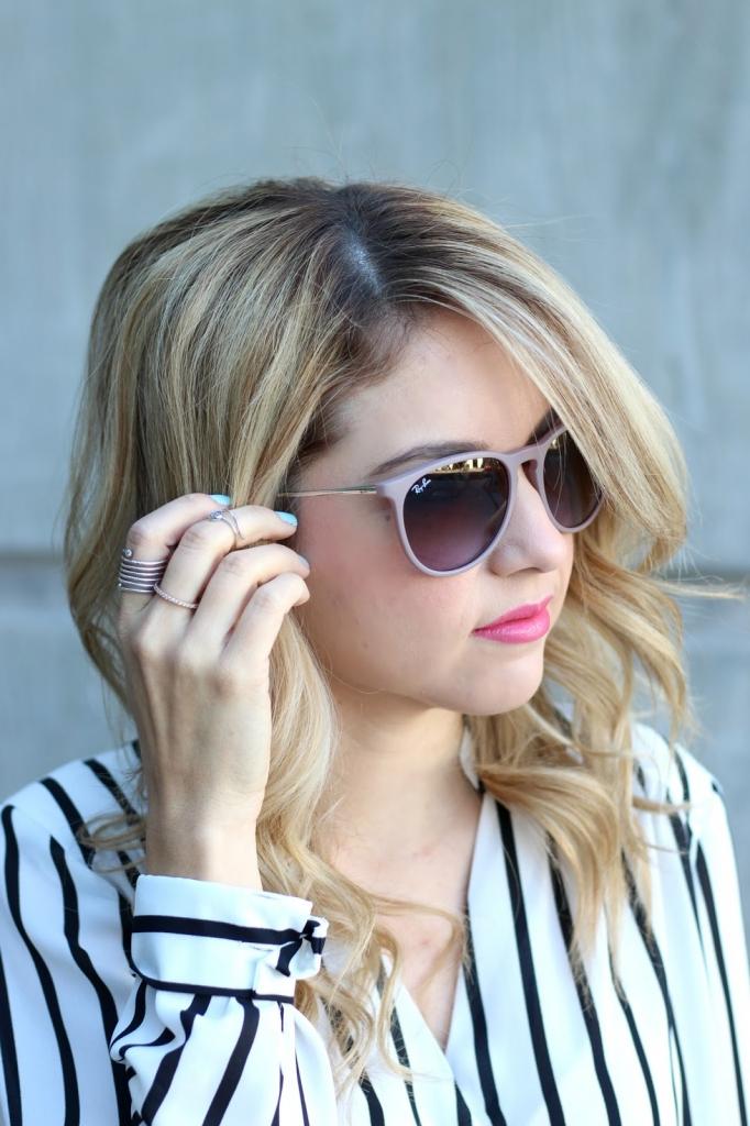 stripes, wrap blouse, skort, stripe blouse