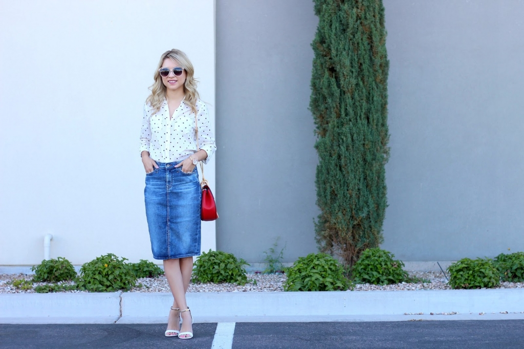denim skirt outfit , button up, chloe drew