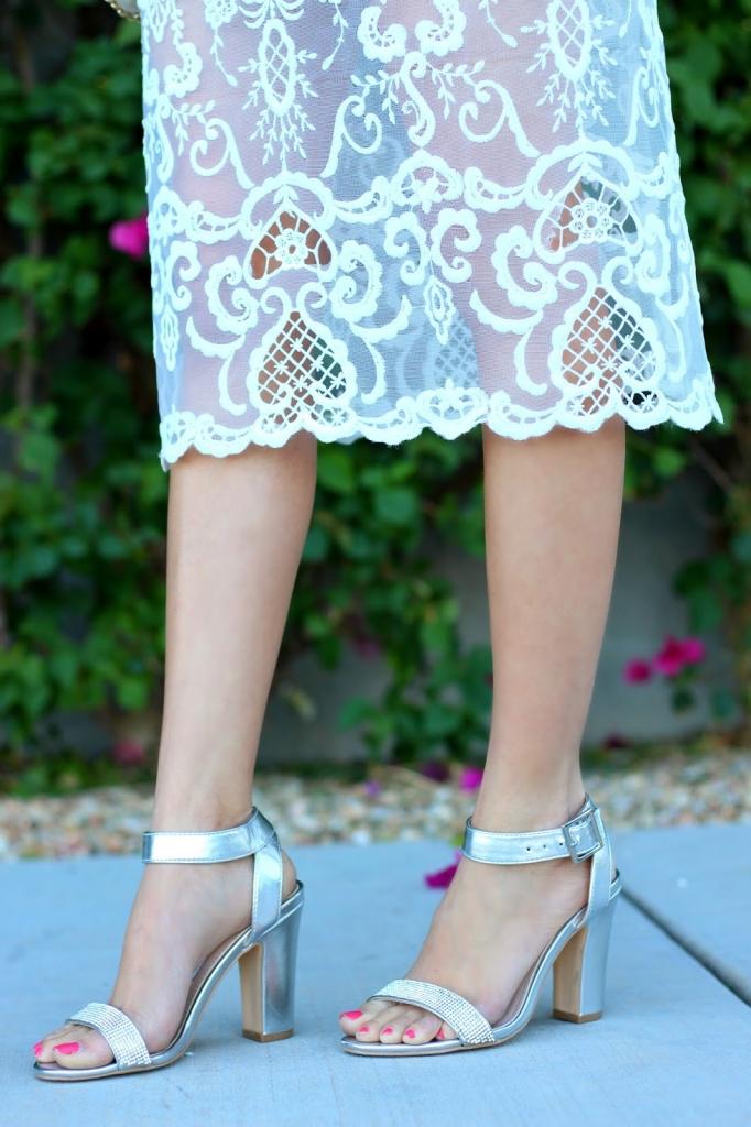 loft top, nina shoes, silver heels
