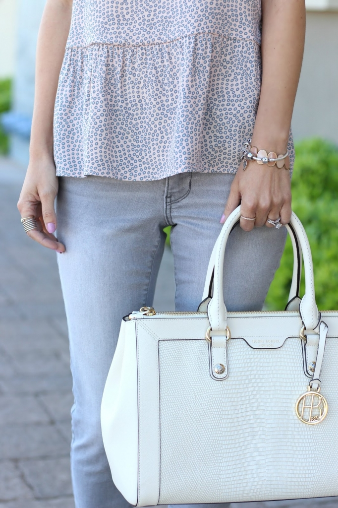 ruffle top, grey jeans