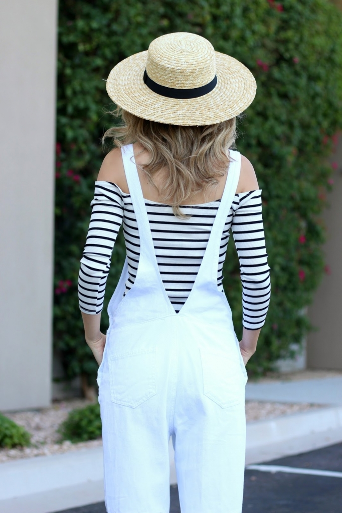 boater hat, white overalls
