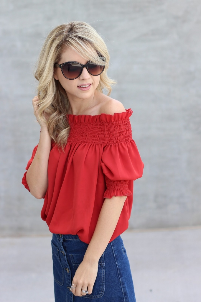 Boohoo, off the shoulder top, Red, Denim skirt, espadrille