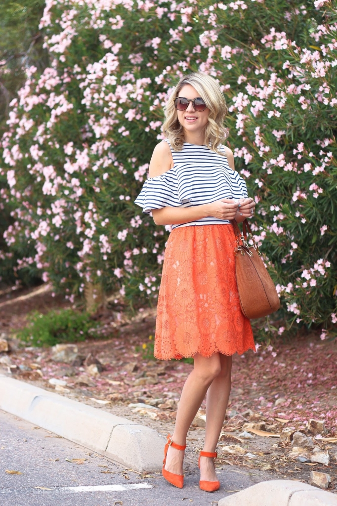 bold stripes, crop top, orange dress
