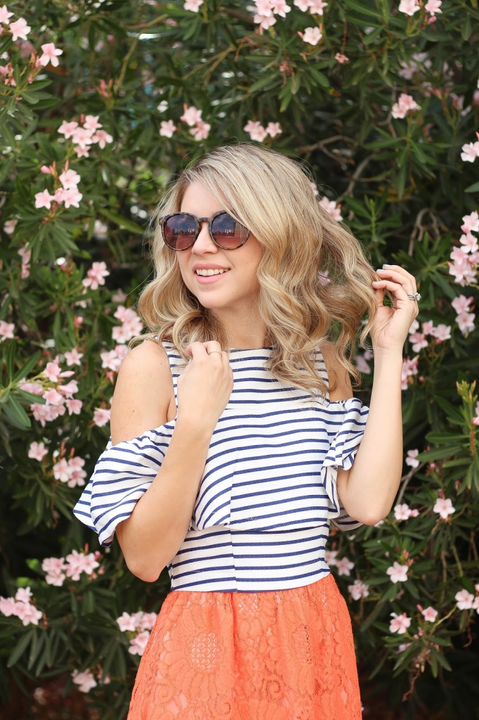 crop top over dress, stripes and orange
