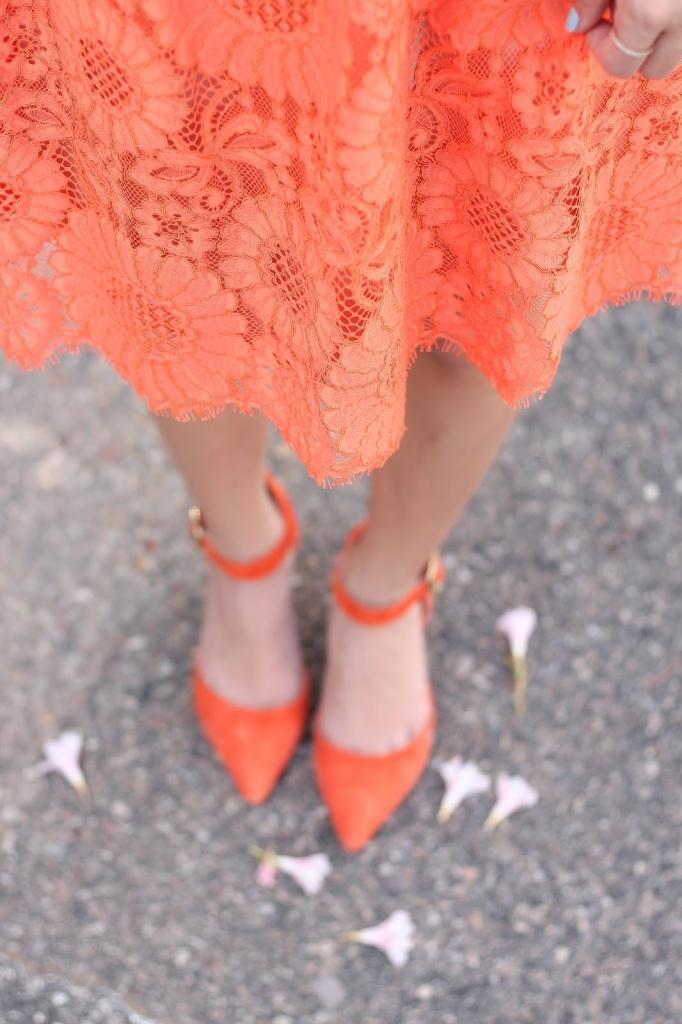 orange lace, orange heels