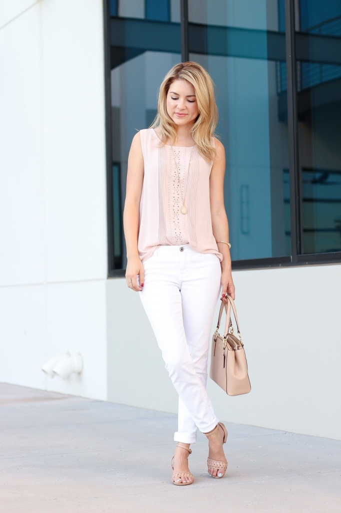 pink and white outfit, style