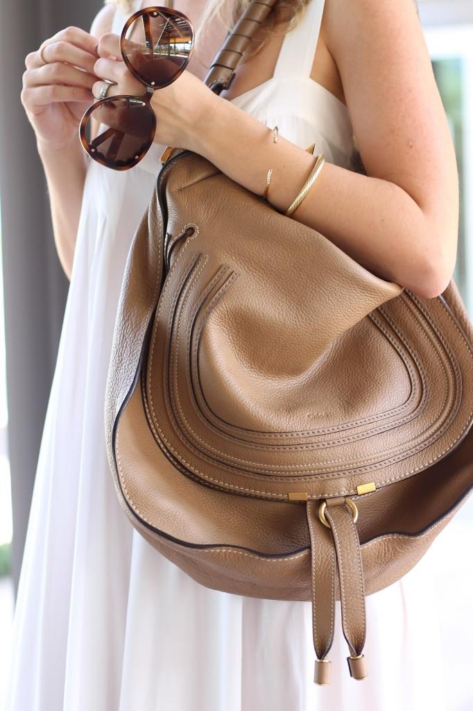 chloe handbag, white outfit