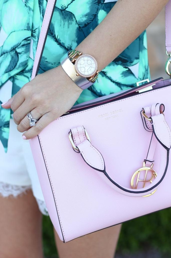 pink satchel, henri bender, pink purse