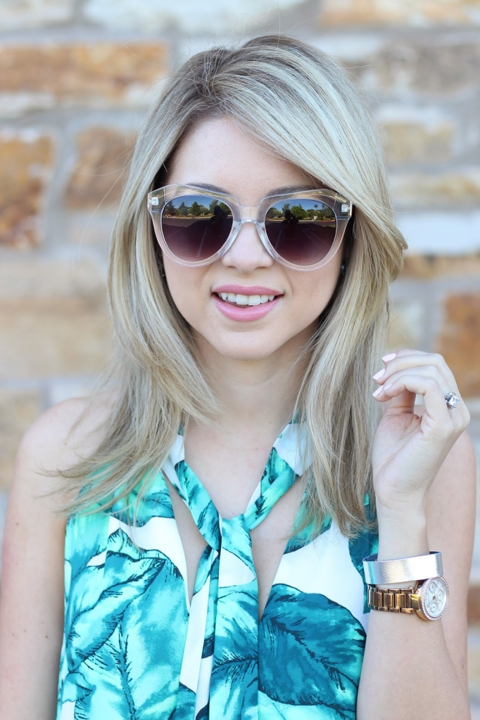 Summer prints, tie blouse, palm leaf print, dillard's