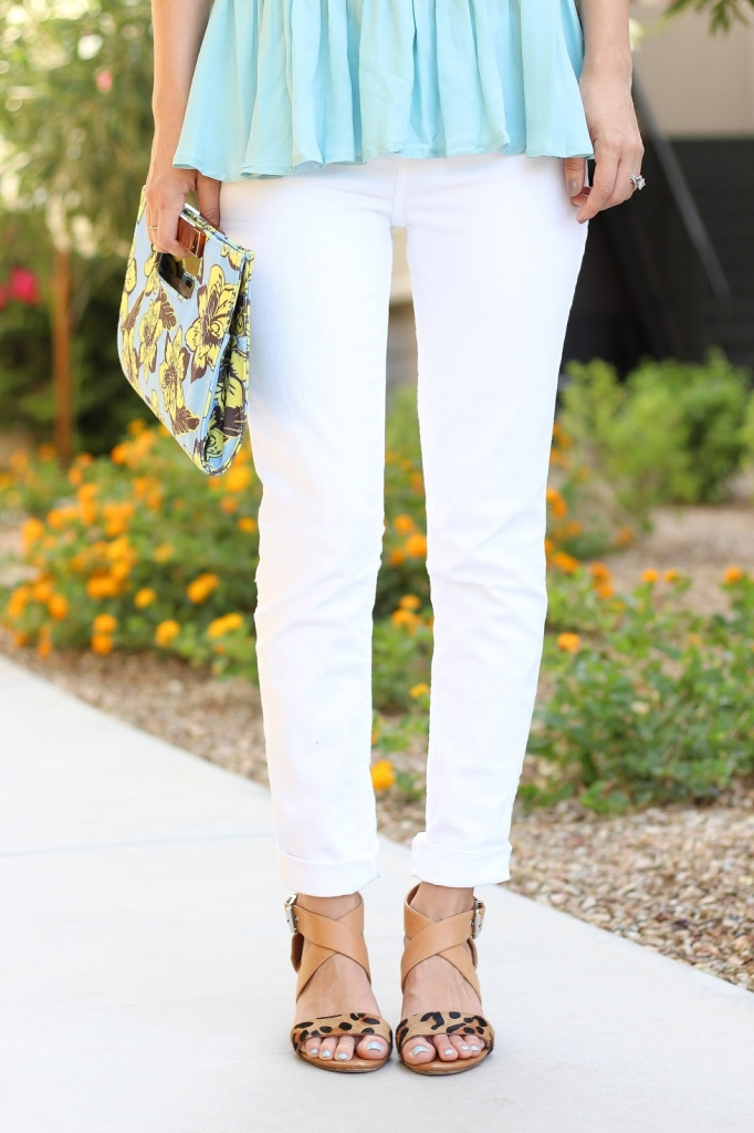 white pants, leopard heels, tropical clutch