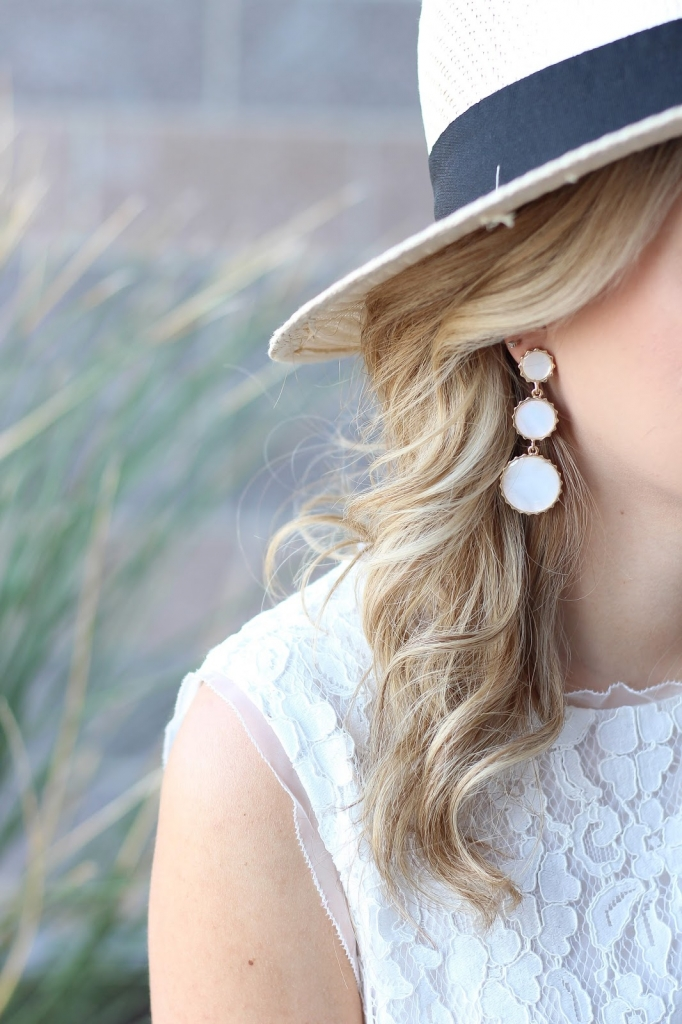 earrings, dangle earrings, straw hat