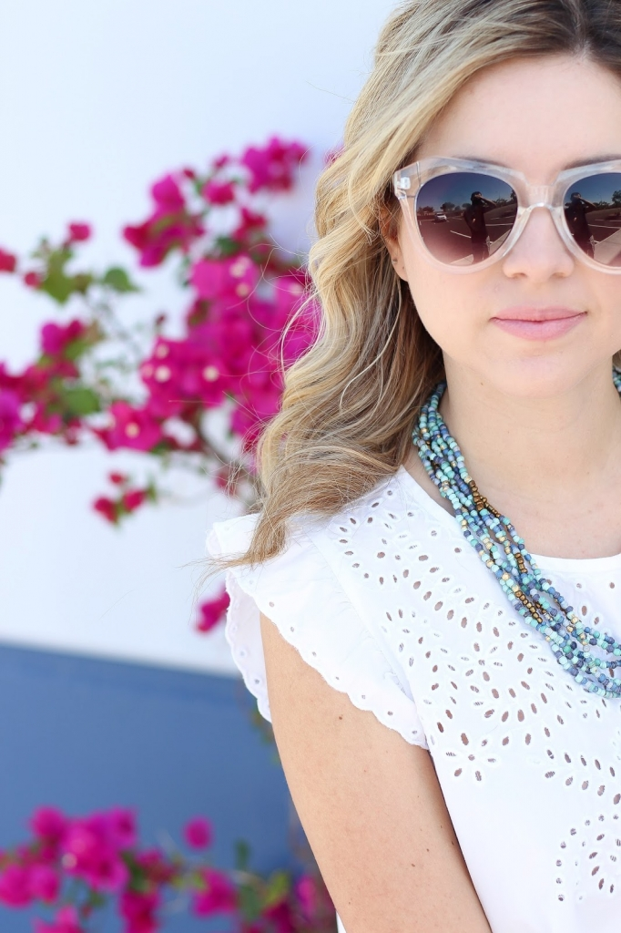 beaded necklace,flutter top