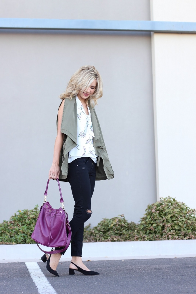 utility vest - block heels - bucket bag