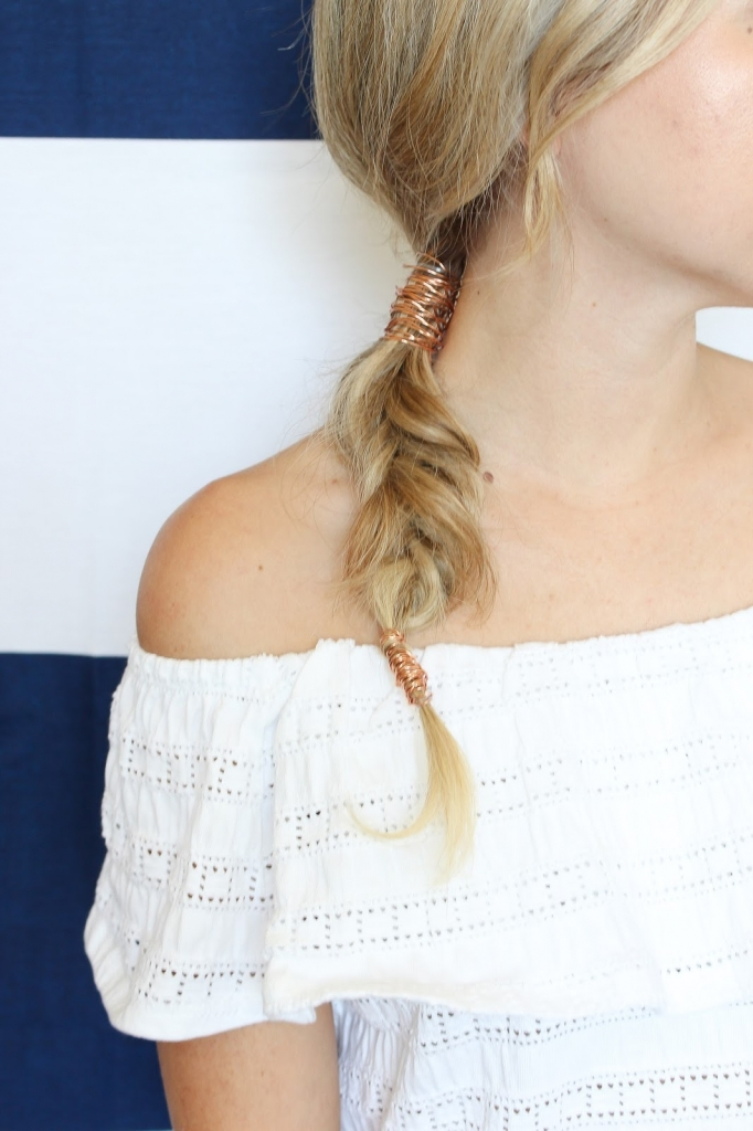 fashion week hair - metal braid - rose gold - hair