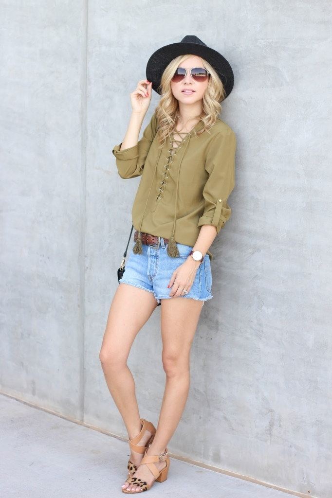 lace up top - olive top - cutoff shorts