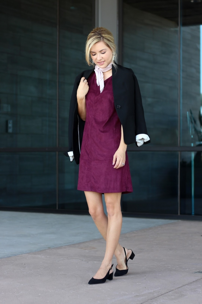 Suede dress - burgundy - bishop and young