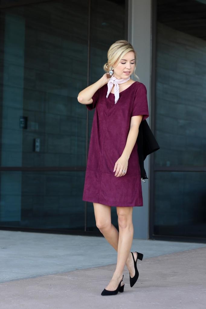 burgundy dress - black heels - scarf - simply sutter