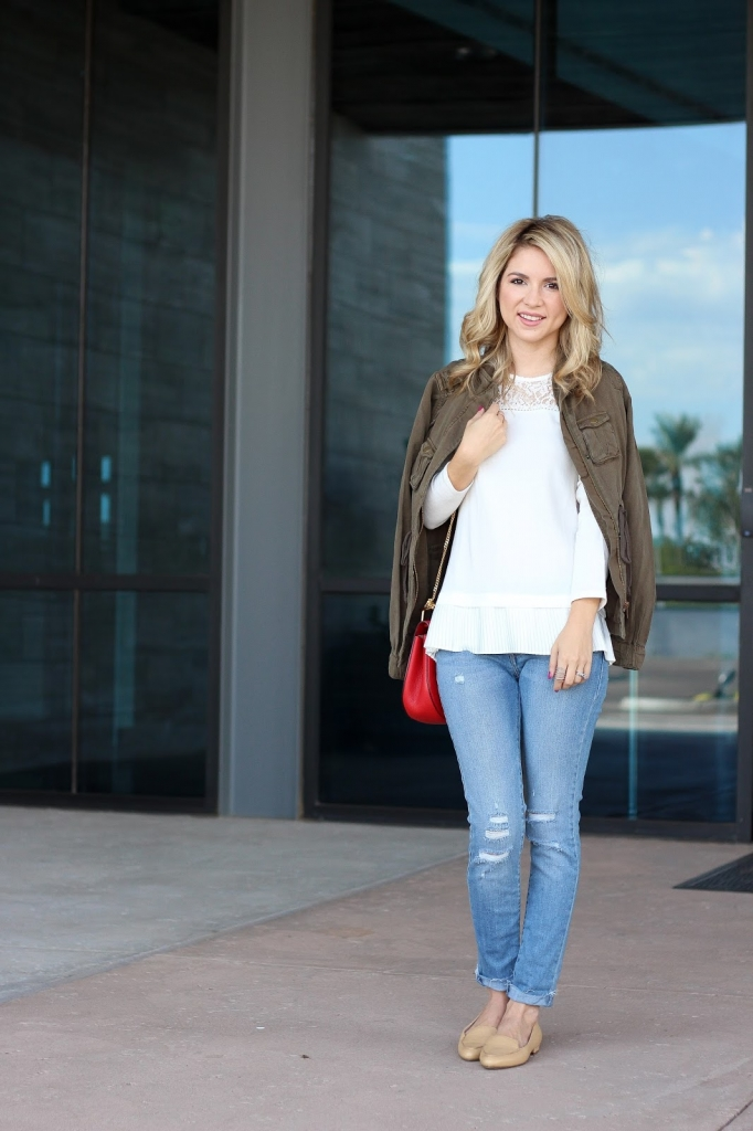 casual girly outfit, denim airport style, loafers and jeans, utility jacket and jeans