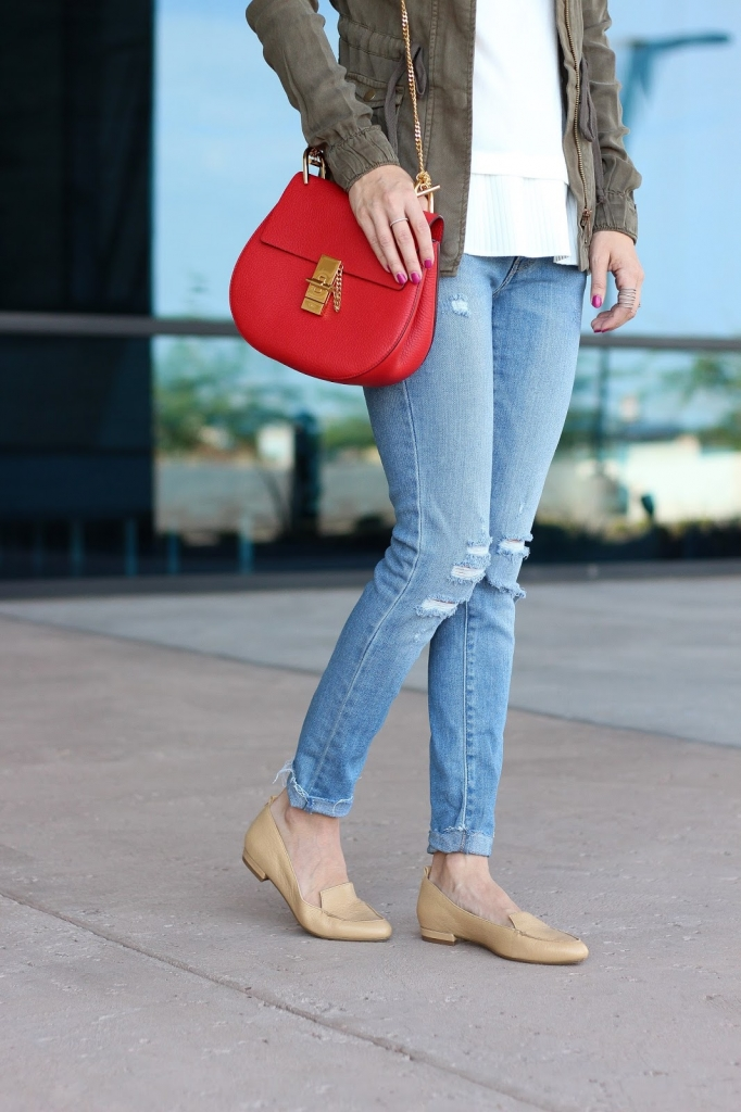 denim, utility jacket, chloe handbag, lace top
