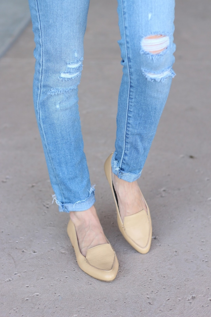 loafer outfit, denim outfit, nude nina loafers