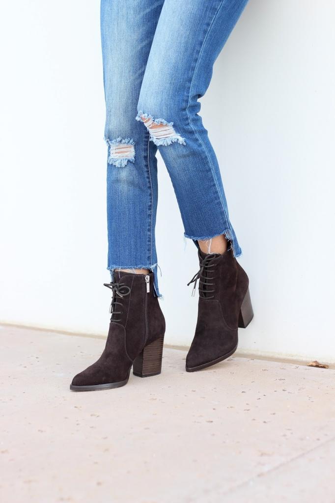 Aaliyah boot - chocolate boots - hem jeans
