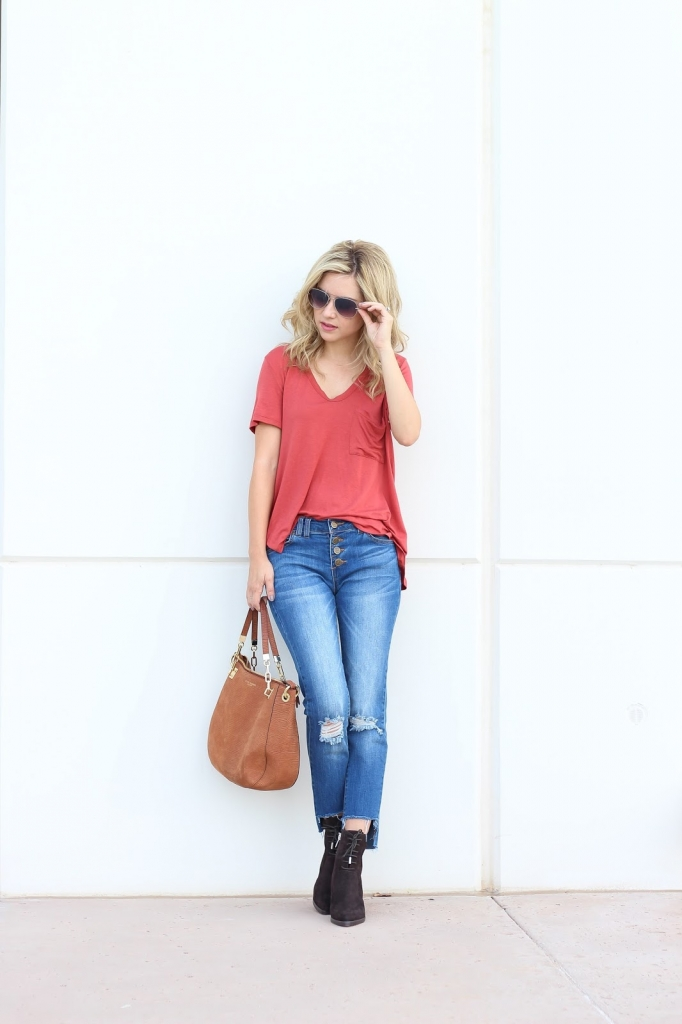 Pre fall - fashion - style - hem jeans - ankle boots