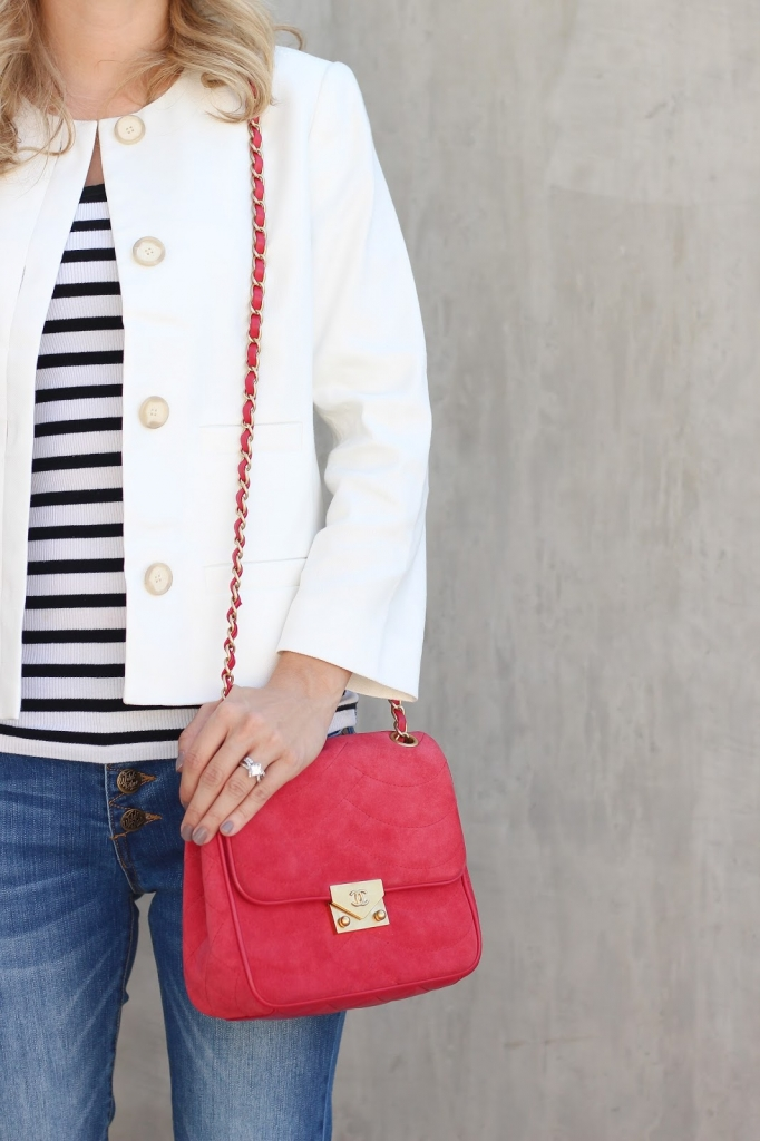 ann taylor Jacket - stripe top - casual outfit