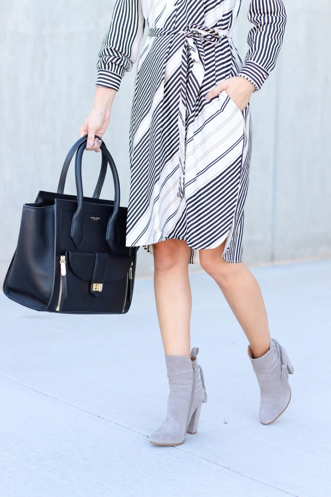Ankle boots - shirt dress - black handbag